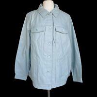 DENIM CO. Women's Plus Size 3X Gray Lamb Leather Button Front Jean Jacket