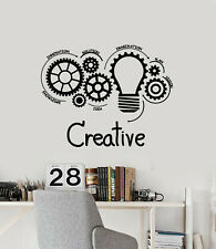 Vinyl Wall Decal Creative Idea Office Vision Gears Light Bulbs Stickers (g1897)