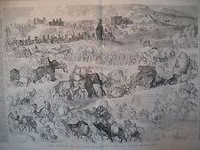 INDE MARCHE DE TROUPES ANGLAISES ELEPHANTS BUFFLES DROMADAIRES GRAVURE 1866