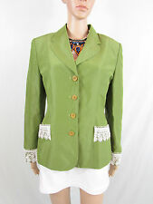 Vtg Retro MARC AUREL Womens Embellished Tailored Tweed Blazer Jacket sz M AR75