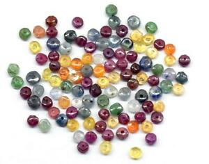 (100 PIECES) NATURAL EMERALD RUBY SAPPHIRE BEADS RONDELLE 2.5 - 3 MM #A1512