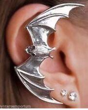 Bat Ear Cuffs Clip On Silver Halloween Goth