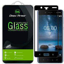 2x Dmax Armor for Nokia 8 Tempered Glass Full Cover Screen Protector Black