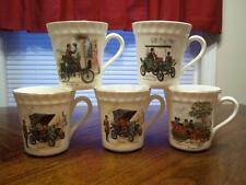 Set of 5 Vintage Crown Stafforshire CRS132 Man/Automobile Snack Cup