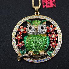Owl Pendant Betsey Johnson Chain Necklace New Ab Green Rhinestone Bling Flower