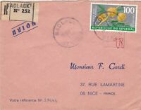 French Colonies Kaolack Regd Air Mail 1969 Acacia Flower Stamp Cover Ref 44690