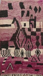 Vintage Modern Authentic Moroccan Vegetable Dye Area Rug Hand-knotted Wool 5'x8'