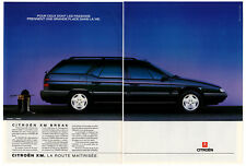 1990 CITROEN XM Wagon (Break) Vintage Original 2 page Print AD Black car photo