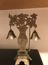 Vinrage Brass Bells On Stand With Hammer Flowers Vase With Dragon Rare