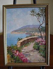 "Signed Painting on Board 8"" x 6"" Sorrento Italy Sea Landscape Walter Buffington"