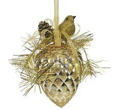 Weiste festosa uccellino su pigna (Oro) TREE DECORATION 89912 x2 NUOVO 19673