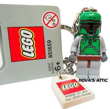 STAR WARS LEGO BOBA FETT KEYRING  WITH RARE TILE  GREY HANG TAG BRAND NEW