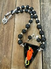 STUNNING Onyx & Silver Glass Pendant Necklace w/ earrings Signed by Artist