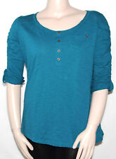 NEW Style & Co. Plus 0X FRENCH TEAL 3/4 Sleeve Henley Neckline Top