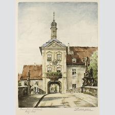 Adrianus van Zeegen: Bamberg Rathaus. Kolorierte Radierung.
