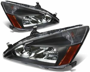 For 2003-2007 Honda Accord 2/4Dr Black Replacement Headlights Lamps Left+Right