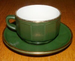 Apilco bistroware French green small cup & saucer