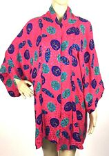 VTG 90s Kimono Robe Size 12 Silk Floral Cover Up Open Front Retro Glam Art Deco