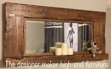 Large Wooden Rustic Farmhouse Country Rustic Reclaimed Landscape Mirror Shelf