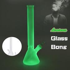 11''Green Luminous Hookah Water Glass Bong Smoking Pipe Glassware Shisha Tobacco