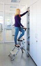 Günzburger Steigtechnik Aluminium-Klapp-Treppe, mit klappbarem Bügel, 4 Stufen,
