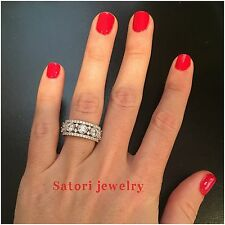 Platinum Sterling Silver White Sapphire Fancy Band Ring Gift Bridal Size 6 Gift