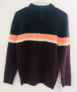Cat & Jack Long Sleeve Quarter Zip Knit Sweater Burgundy Colorblock Size L 12/14