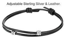 5AB-333 Sterling Silver New Adjustable Leather Unisex Surfer ANKLET Bracelet.