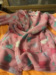 Pink Dressing Gown With Red Yellow Purple And Green Hearts Size 4 To 5 For Girls