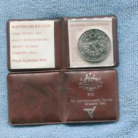 1982 SILVER Brisbane Commonwealth Games $10 Uncirculated Coin in Pouch