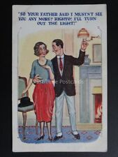 "PPC Comic Series ""FATHER SAID I MUSTN'T SEE YOU ANY MORE - TURN LIGHT OUT"" c1925"