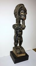 BAULE PEOPLE OLD CARVED WOOD STATUE OF STANDING MALE FIGURE - IVORY COAST (#1)