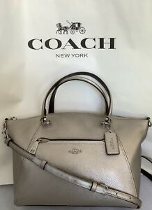 COACH F87686 Metallic Pebble Leather Prairie Satchel Handbag SV/Platinum NWT