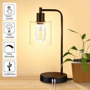 Touch Control Dimmable Glass Table Lamp with 2 USB Charging Ports Desk Lamp