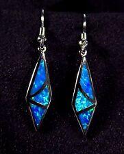 """Sterling 925 Silver SF Hook Earrings Blue Lab Fire Opal GEOMETRIC 1 3/8"""" Drop"""