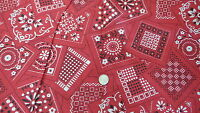 "Vintage Cotton Fabric BLACK & WHITE ON RED BANDANA PATTERN 1 Yd/45"" Wide"