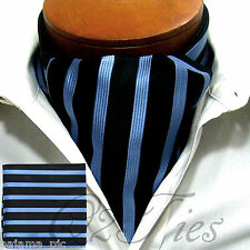 MEN Stripes BLACK BABY BLUE Slipknot Style Casual Ascot Cravat & HANKY 2PCS SET