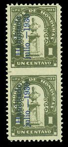"HONDURAS 1930 Dionisio Herrera ""HABILITADO"" ovpt. 1c IMPERF BETWEEN PAIR Sc 290v"