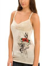 NEW GUESS BELLA TATTOO LACE TANK TOP CAMI LACE SHIRT S
