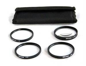 55mm Filter Thread Macro Close Up Filter Set +1 +2 +4 +10 + Case Filter-M55