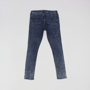 River Island Womens 32w 30L Short Leg Slim Skinny Stretch Blue Jeans