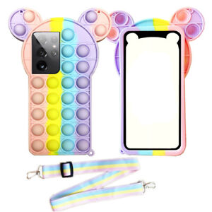 Fidget Toy Push Bubble Rainbow Case For Samsung S21 Ultra S20 A51 Restless Strap