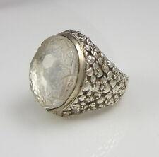 Stunning Signed Stephen Dweck Sterling Silver Carved Clear Quartz Flower Ring