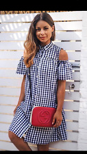 NEW PRIMARK ATMOSPHERE GINGHAM CHECKED COLD SHOULDERS SHIRT DRESS SIZE 16/44