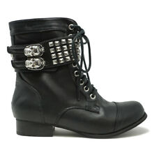 ABBEY DAWN WOMENS  WILD CHILD COMBAT BOOTS BLACK