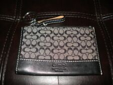 Small Black Canvas w leather trim Coach Woman's Coin Purse wallet key ring