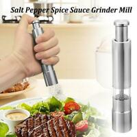 Stainless Steel Thumb Push Salt Pepper Grinder Spice Sauce Mill Muller Kitchen