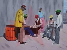 Your Move, black art nostalgic scene of checkers