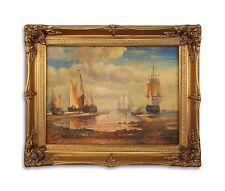 Ölgemälde auf Holz, Holz/Resin-Goldstuck-Rahmen Segelschiffe am Ufer 9973263-dsp