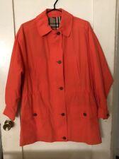 Burberry London Orange Tangerine Peach Trench Coat Jacket 3/4 Sleeve XS